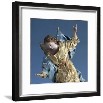 Angel Visiting Saint Joseph in Dream, Painted Terracotta Nativity Figurine-Francisco Salzillo Y Alcazar-Framed Giclee Print