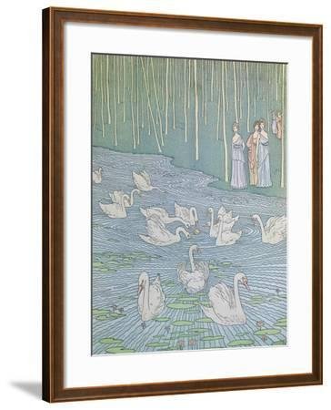 Nausicaa and Her Companions Playing with a Ball-Gaston de Latenay-Framed Giclee Print