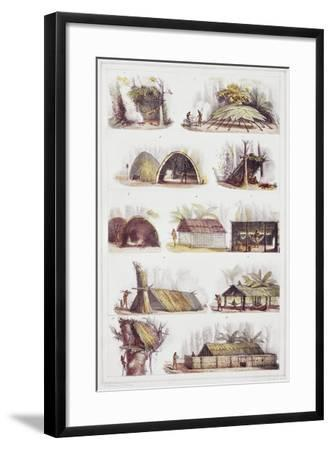 Various Types of Brazilian Huts, Engraving from Picturesque and Historic Voyage to Brazil-Jean-Baptiste Debret-Framed Giclee Print