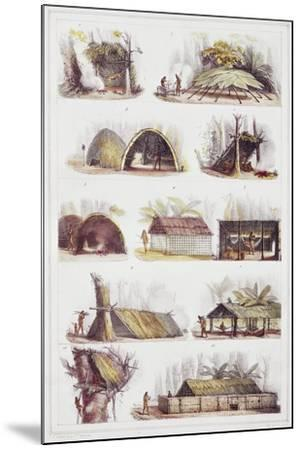 Various Types of Brazilian Huts, Engraving from Picturesque and Historic Voyage to Brazil-Jean-Baptiste Debret-Mounted Giclee Print