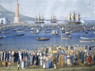 Arriving in Naples from Palermo, Crown Prince Francis of Bourbon, January 31, 1801-Giovanni Cobianchi-Framed Giclee Print