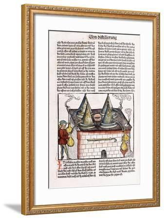 Illustration of a Late 15th Century Distillery to Extract the Essential Oils of Plants, 1500-Hieronymus Brunschwig-Framed Giclee Print