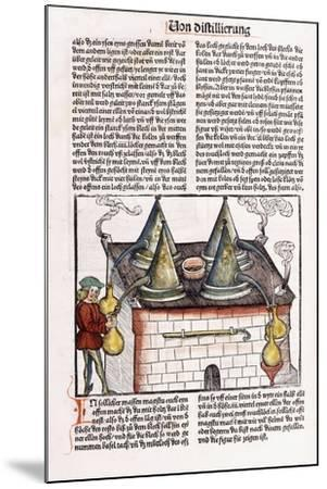 Illustration of a Late 15th Century Distillery to Extract the Essential Oils of Plants, 1500-Hieronymus Brunschwig-Mounted Giclee Print