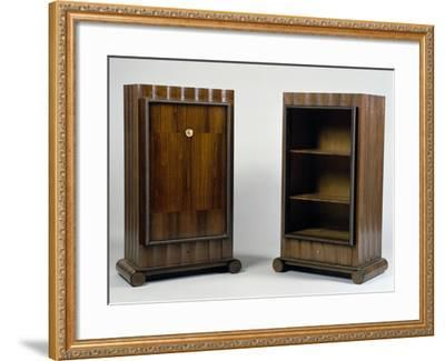 Art Deco Style Mini Bar and Bookcase, Stelcavgo Model, 1928 and 1927-Jacques-emile Ruhlmann-Framed Giclee Print
