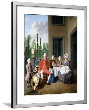 Group Portrait of the Van Den Bosch Family, Dining by a House, a Topiary Garden Beyond, 1777-Jan Josef the Younger Horemans-Framed Giclee Print