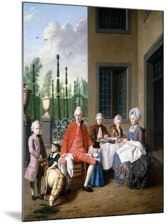 Group Portrait of the Van Den Bosch Family, Dining by a House, a Topiary Garden Beyond, 1777-Jan Josef the Younger Horemans-Mounted Giclee Print