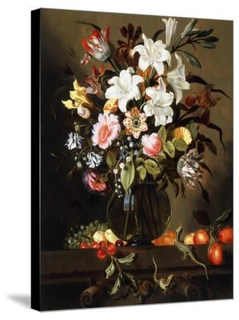 A Bouquet of Flowers with Fruit and Two Sand Lizards on a Stone Ledge, 1647-Jacob Marrel-Stretched Canvas Print