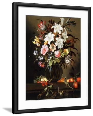 A Bouquet of Flowers with Fruit and Two Sand Lizards on a Stone Ledge, 1647-Jacob Marrel-Framed Giclee Print