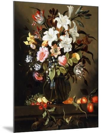 A Bouquet of Flowers with Fruit and Two Sand Lizards on a Stone Ledge, 1647-Jacob Marrel-Mounted Giclee Print