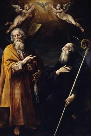 Saints Andrew and Benedict with Holy Spirit Above Them and Two Adoring Putti-Giuseppe Cesari-Framed Giclee Print