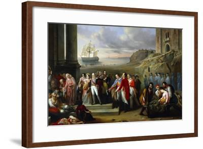 King Charles Felix Refusing to Abandon Sardinia While Epidemic Continues to Rage, 1847-Giovanni Battista Biscarra-Framed Giclee Print