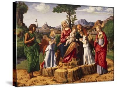 Holy Conversation or Madonna Enthroned with Child-Giovanni Battista Cima Da Conegliano-Stretched Canvas Print