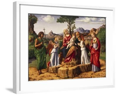 Holy Conversation or Madonna Enthroned with Child-Giovanni Battista Cima Da Conegliano-Framed Giclee Print