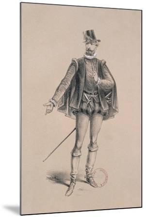 Costume Sketch for Role of Marquis of Posa for Premiere of Opera Don Carlos-Giuseppe Verdi-Mounted Giclee Print