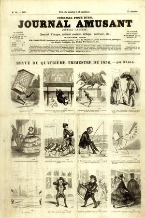 Review of the Fourth Quarter of 1856, from the 'Journal Amusant', 17 January 1857-Nadar -Stretched Canvas Print