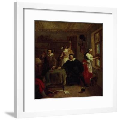 The Barber, Don Quixote's Niece, Priest and Housekeeper Purging Don Quixote's Library, Painting-John Michael Wright-Framed Giclee Print