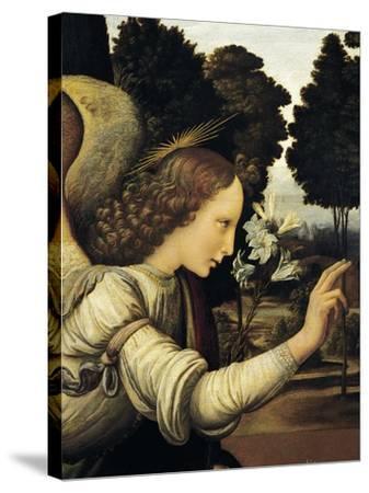 Announcing Angel, Detail from Annunciation, 1472-1475-Leonardo da Vinci-Stretched Canvas Print