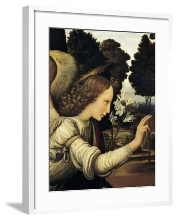 Announcing Angel, Detail from Annunciation, 1472-1475-Leonardo da Vinci-Framed Giclee Print
