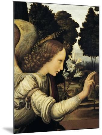 Announcing Angel, Detail from Annunciation, 1472-1475-Leonardo da Vinci-Mounted Giclee Print