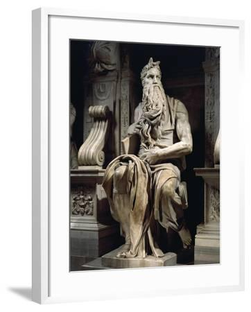 Italy, Rome, Basilica of St. Peter, Moses, Detail from Tomb of Julius II, Circa 1515--Framed Giclee Print