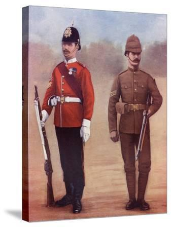 Colour-Sergeant of the West Yorkshire Regiment, Left, and a Sergeant of the Yorkshire Regiment-Louis Creswicke-Stretched Canvas Print