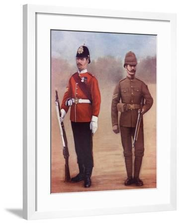 Colour-Sergeant of the West Yorkshire Regiment, Left, and a Sergeant of the Yorkshire Regiment-Louis Creswicke-Framed Giclee Print
