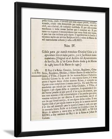 Permit Issued by Court of King's Service, Cordova, May 12, 1489-Martin Fernandez De Navarrete-Framed Giclee Print
