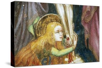 Mary Magdalene at Foot of Cross, Detail from Fresco Cycle Stories of Virgin-Ottaviano Nelli-Stretched Canvas Print