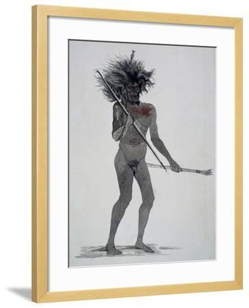 Natives of Waigeo Island, Watercolor from Voyage around World, 1822-1825-Louis Isidore Duperrey-Framed Giclee Print