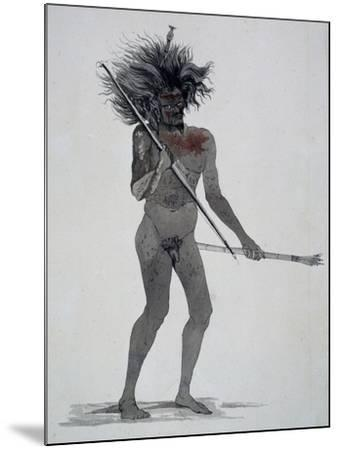 Natives of Waigeo Island, Watercolor from Voyage around World, 1822-1825-Louis Isidore Duperrey-Mounted Giclee Print