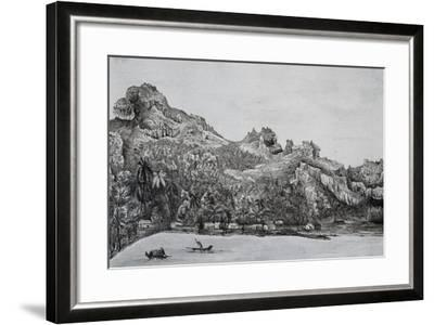 Southern View of Maupiti Island, Society Islands, Engraving from Voyage around World, 1822-1825-Louis Isidore Duperrey-Framed Giclee Print
