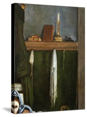 Shelf with Candelabra and Books, Detail from the Annunciation, Ca 1434-Lorenzo Lotto-Stretched Canvas Print