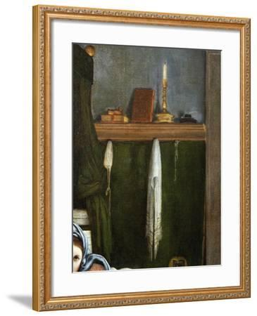 Shelf with Candelabra and Books, Detail from the Annunciation, Ca 1434-Lorenzo Lotto-Framed Giclee Print