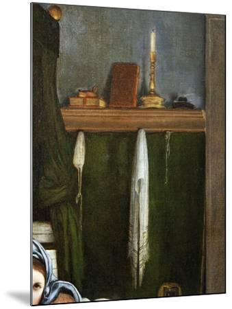 Shelf with Candelabra and Books, Detail from the Annunciation, Ca 1434-Lorenzo Lotto-Mounted Giclee Print