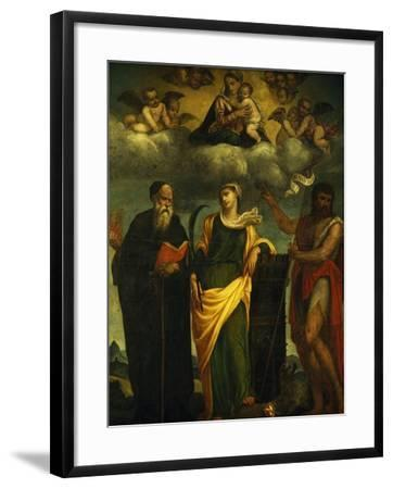 Madonna in Glory Between St John the Baptist and St Augustine-Padre Pietro Da Bagnara-Framed Giclee Print