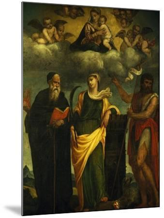 Madonna in Glory Between St John the Baptist and St Augustine-Padre Pietro Da Bagnara-Mounted Giclee Print