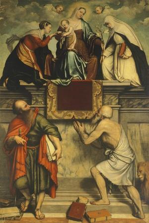 Enthroned Madonna with Child, St Catherine, St Paul and St Jerome, 1543-Moretto Da Brescia-Framed Giclee Print