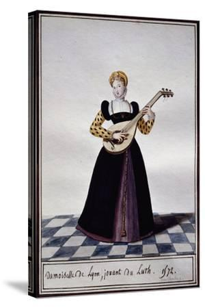 Young Woman from Lyon Playing Lute at Time of Charles IX, 1572-Pierre de La Mesangere-Stretched Canvas Print