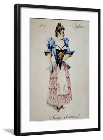 Costume Sketch for Role of Nedda, Colombina in Play Within Play, in Opera Pagliacci, 1892-Ruggero Leoncavallo-Framed Giclee Print