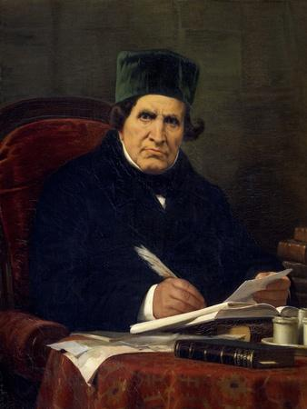 Portrait of Giovan Battista Niccolini, Italian Playwright and Patriot-Stefano Ussi-Framed Giclee Print