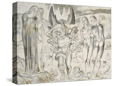 The Circle of the Thieves: Agnolo Brunelleschi Attacked by a Six-Footed Serpent Inferno-William Blake-Stretched Canvas Print