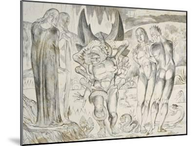 The Circle of the Thieves: Agnolo Brunelleschi Attacked by a Six-Footed Serpent Inferno-William Blake-Mounted Giclee Print