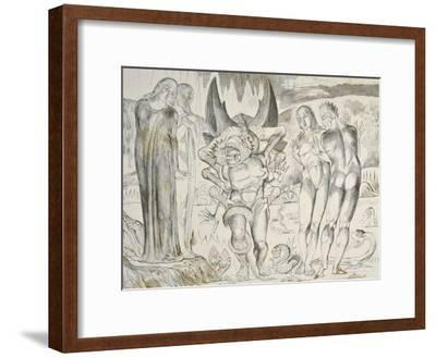The Circle of the Thieves: Agnolo Brunelleschi Attacked by a Six-Footed Serpent Inferno-William Blake-Framed Giclee Print
