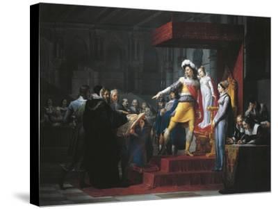 Gustavus II Adolphus Vasa Imposing Oath of Allegiance to His Daughter Cristina-Pelagio Palagi-Stretched Canvas Print