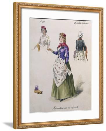 Costume Sketch for Role of Chorus Girl in Opera Andrea Chenier, 1896-Umberto Giordano-Framed Giclee Print