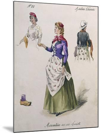 Costume Sketch for Role of Chorus Girl in Opera Andrea Chenier, 1896-Umberto Giordano-Mounted Giclee Print