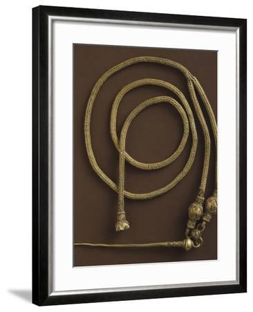 Herringbone Patterned Gold Chain Necklace and Decorative Pin--Framed Photographic Print