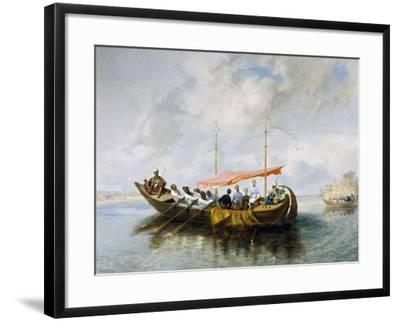 Maximilian of Habsburg and His Brother Carlo Ludovico on Board Halim Pasha's Boat in Smyrna, 1850-Peter Johann Nepomuk Geiger-Framed Giclee Print
