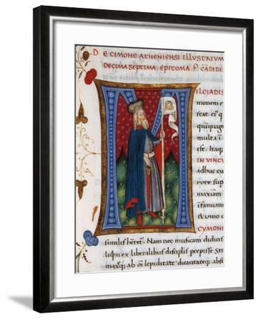 Initial Letter M Depicting Cimon-Pietro Candido Decembrio-Framed Giclee Print