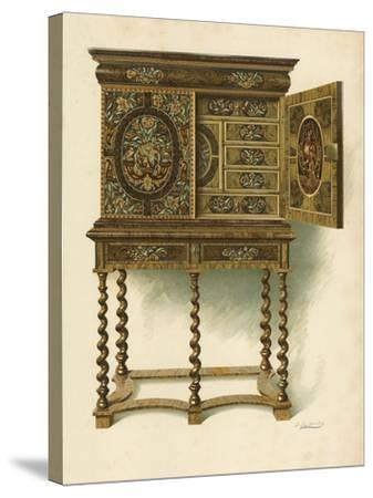 Walnut Cabinet Inlaid with Marqueterie-Shirley Charles Llewellyn Slocombe-Stretched Canvas Print